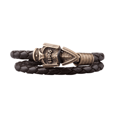 Valknut Odin's Spear Bronze Leather Bracelet