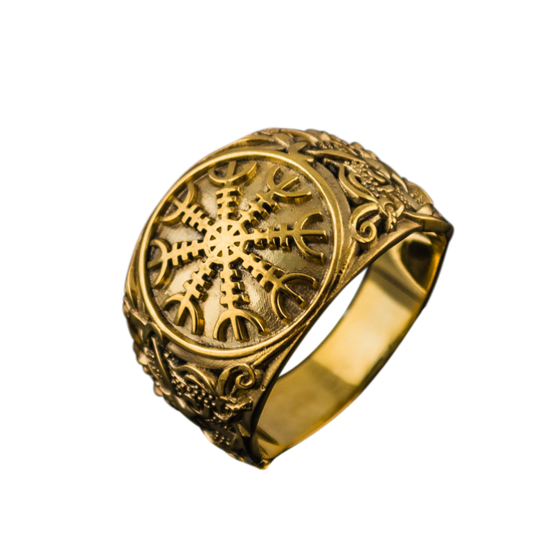Helm of Awe with Mammen Ornament Gold Ring