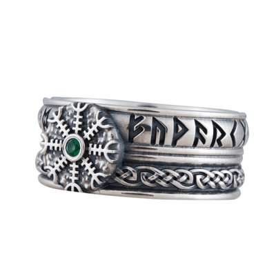 Helm of Awe Symbol Runes Ornament Sterling Silver Ring