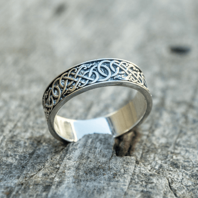Nordischer Ornament-Sterling-Silber-Ring