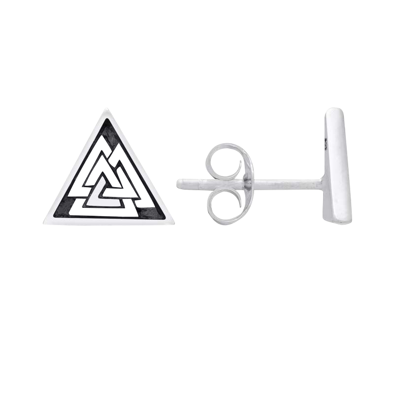 Sterling Silver Valknut Earrings
