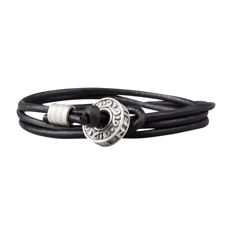 Hail Odin Silver Bead Leather Bracelet