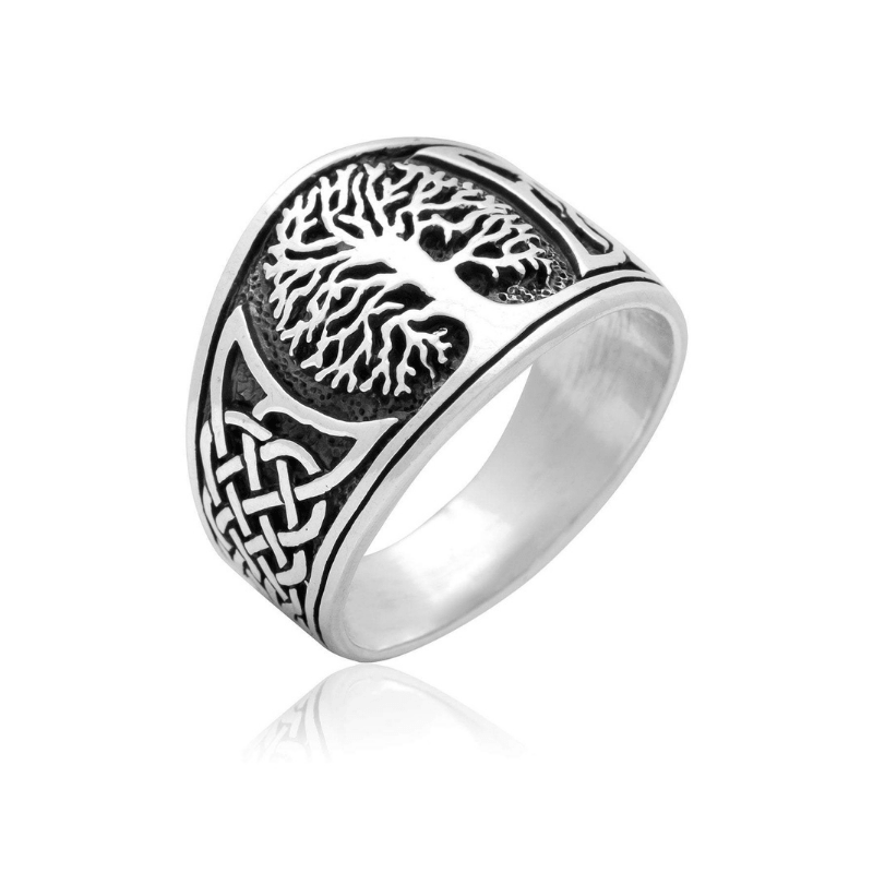 Yggdrasil with Celtic Knotwork Sterling SIlver Ring