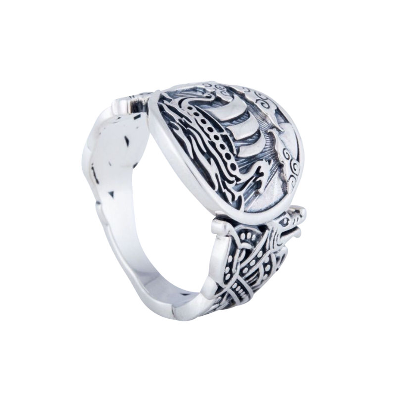 Drakkar Symbol with Wolf Ornament Sterling Silver Ring