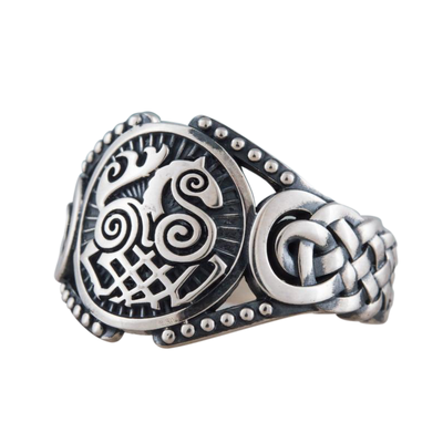 Sleipnir Symbol Viking Ornament Sterling Silver Ring