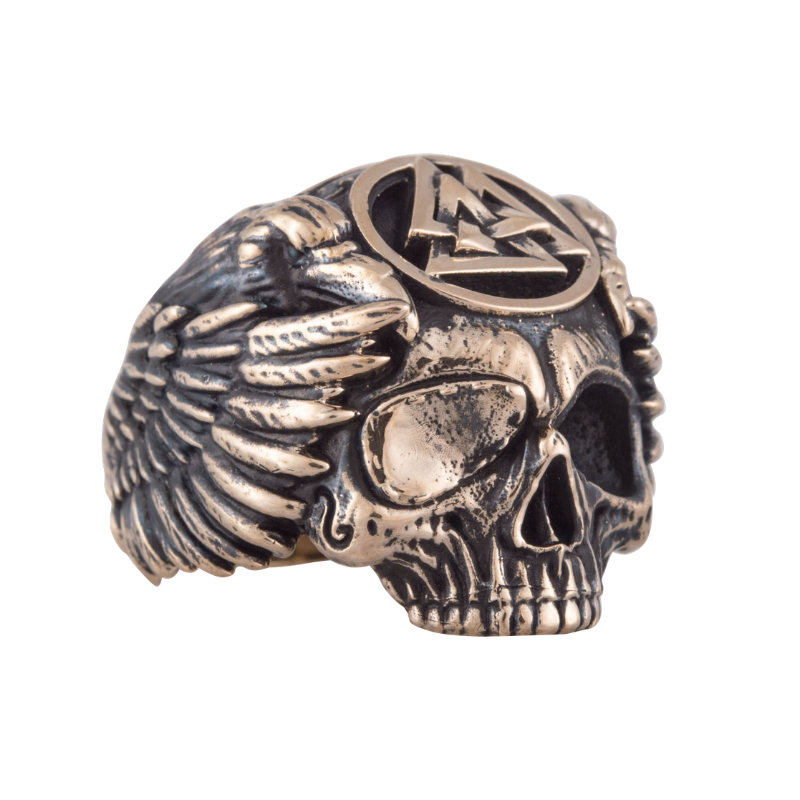 Odin with Valknut Symbol Bronze Ring