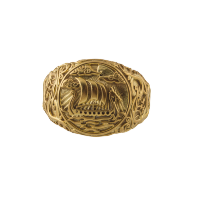 Drakkar Symbol Ring with Urnes Style Gold  Ring