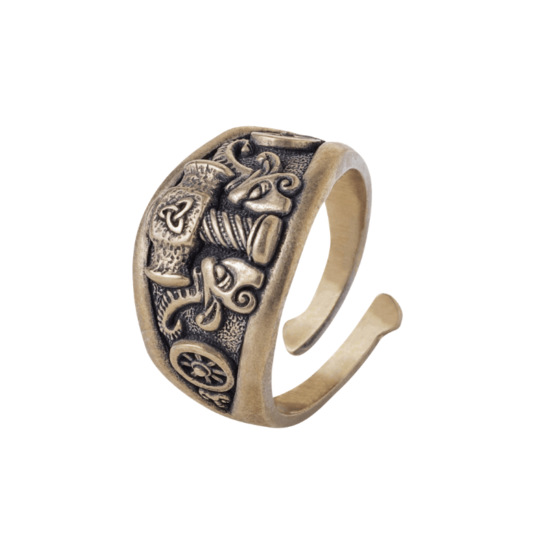 Thor Hammer Ring Triquetra Bronze