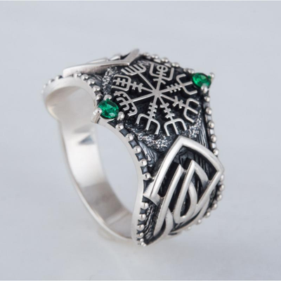 Vegvisir Symbol Norse Ornament Sterling Silver Ring