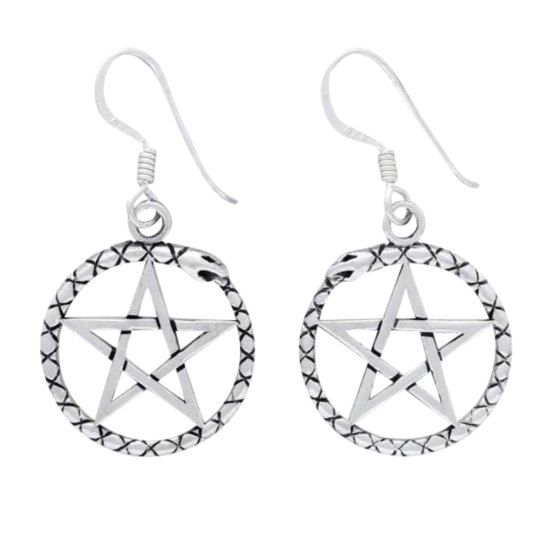 Silver Sterling Pentagram Pendant Earrings