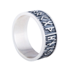 Elder Futhark Runes with Wide Rim Sterling Silver Ring