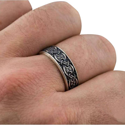 Scandinavian Ornament Silver Sterling Ring