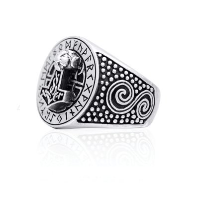 Thor Hammer Runic Sterling Silver Ring