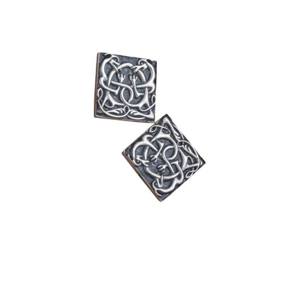 Unique Norse Ornament Square v2 Sterling Silver Cufflinks