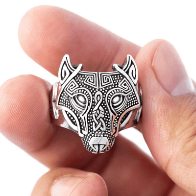 Wolf Head Silver Sterling Ring