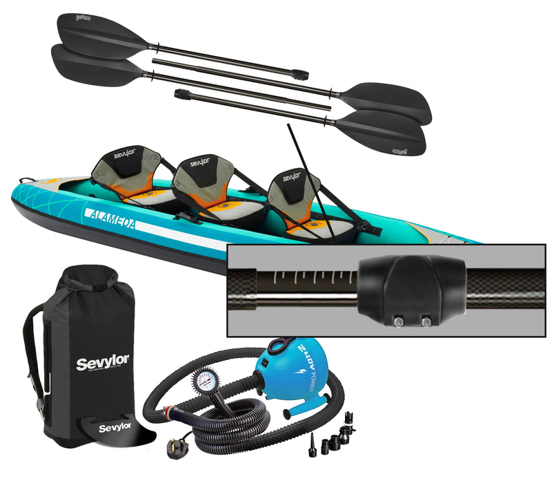 Sevylor Alameda (2021) 3-person (2+1) Inflatable Kayak with paddles and pump