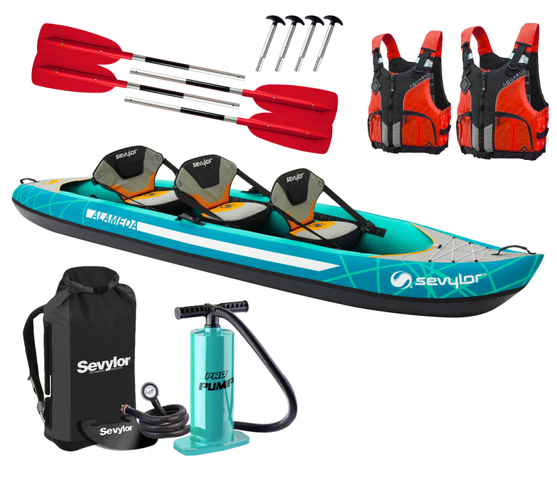 Sevylor Alameda (2021) 3-person (2+1) Inflatable Kayak with paddles, pump and buoyancy aids