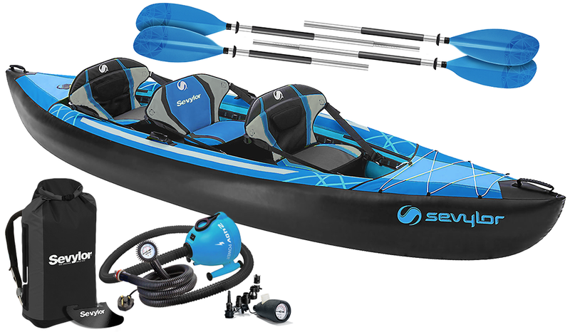 Sevylor Minnesota (2021) 3-person (2+1) Inflatable Kayak with paddles and pump