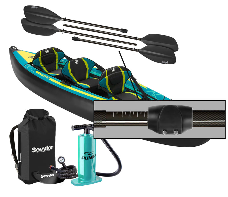 Sevylor Ottawa (2021) 3-person Inflatable Kayak (2+1) with paddles and pump