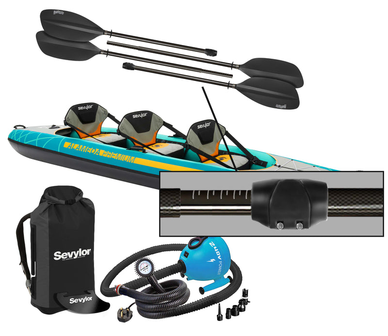 Sevylor Alameda Premium 2021 2+1 Inflatable Kayak with paddles and pump