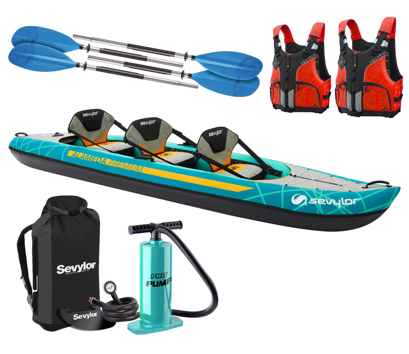 Sevylor Alameda Premium 2021 2+1 Inflatable Kayak with paddles, pump and buoyancy aids