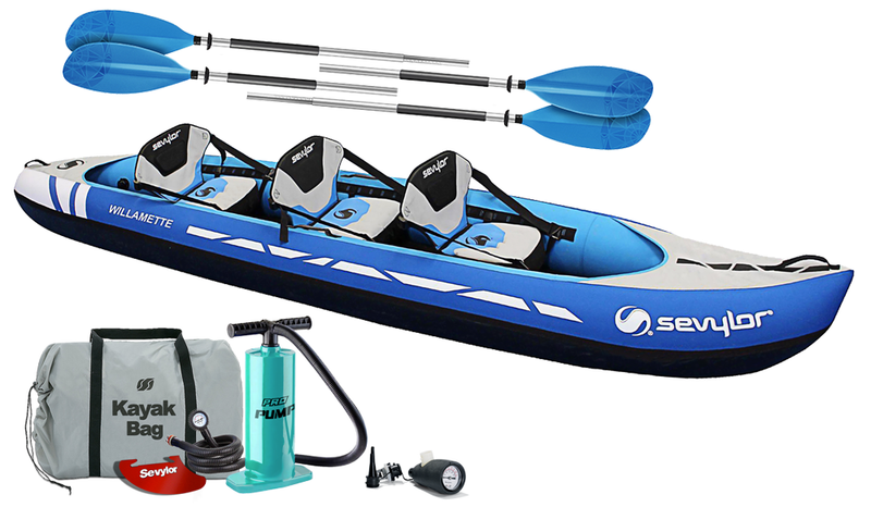 Sevylor Willamette (2021) 3-person (2+1) Inflatable Kayak with paddles and pump