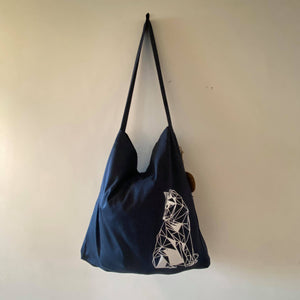 Single Wolf Navy Tote