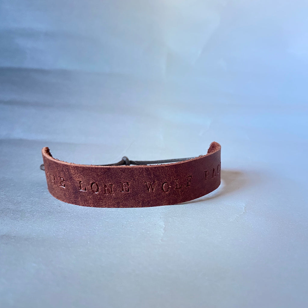 "Leather Quote Bracelet ""The Lone Wolf Pack"""