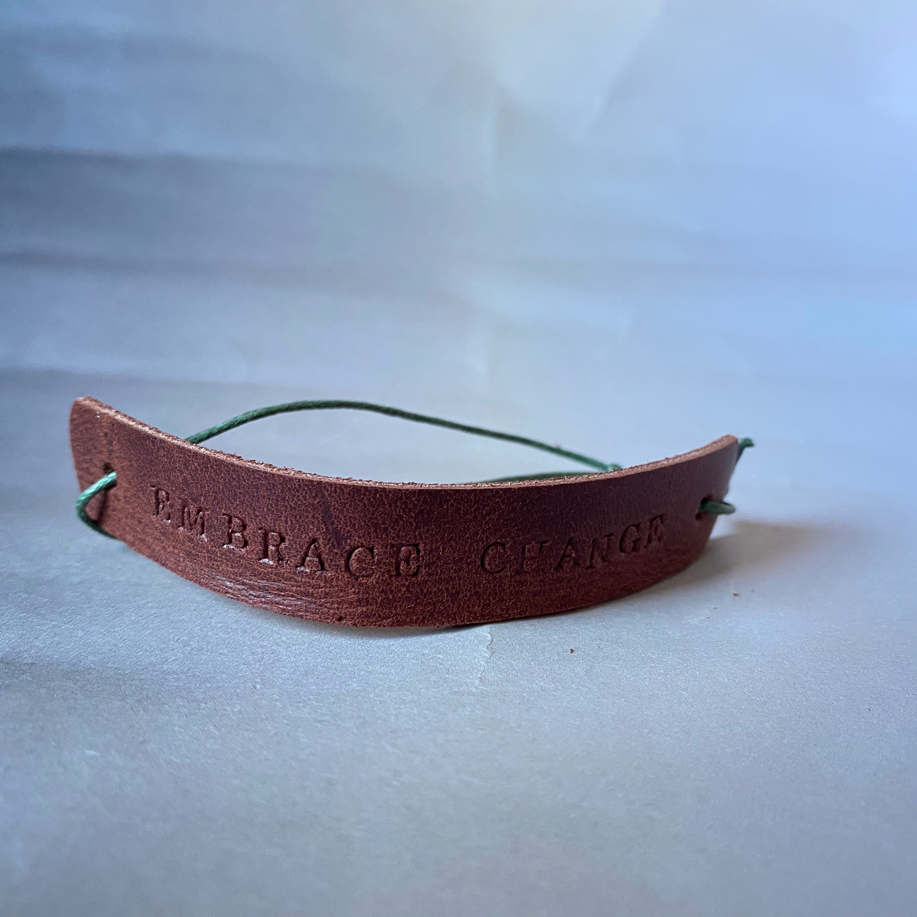 "Leather Quote Bracelet ""Embrace Change"""