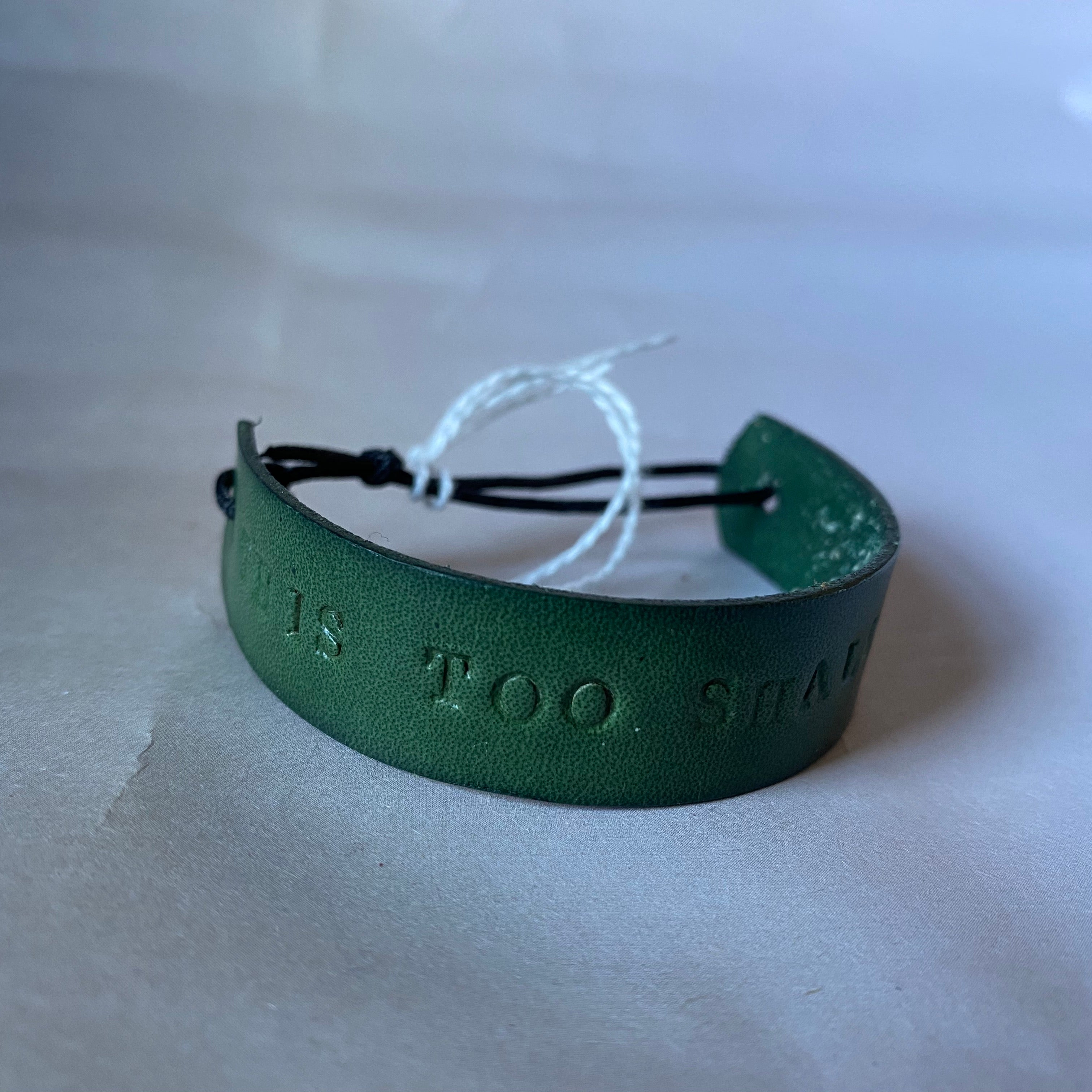 "Leather Quote Bracelet ""This Too Shall Pass"""