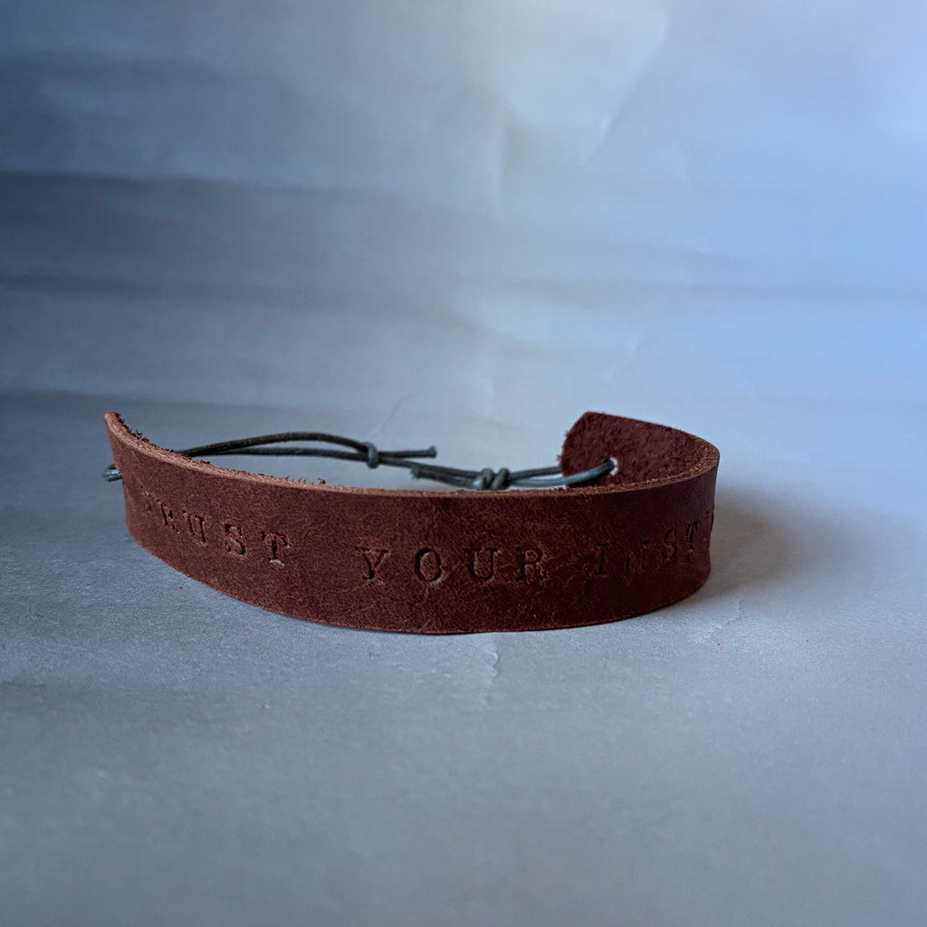 "Leather Quote Bracelet ""Trust Your Instincts"""