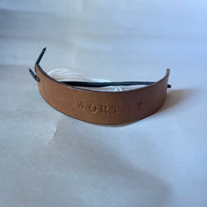 "Leather Quote Bracelet ""Worthy"""