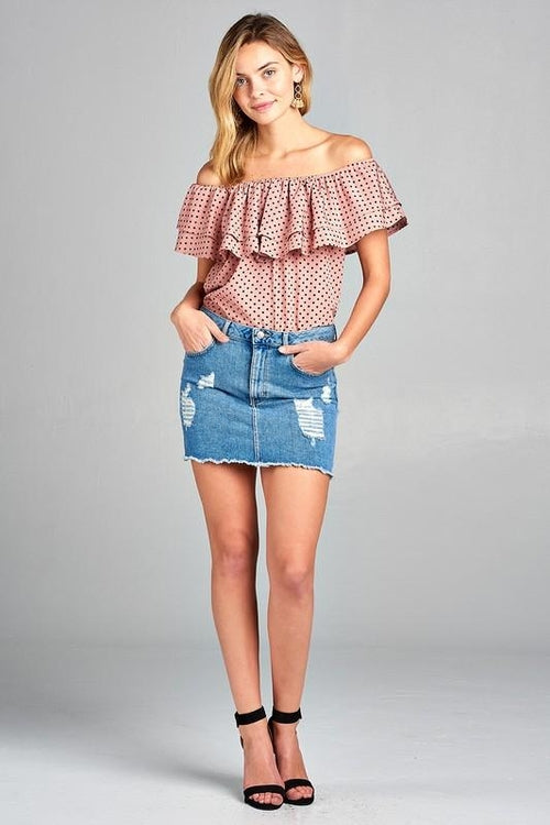 Double Ruffle Off Shoulder Polka Dot Top