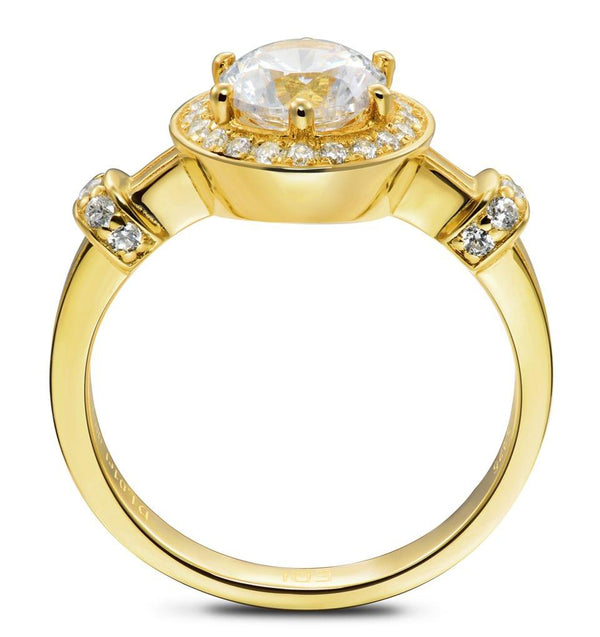 Crown Halo 14k 585 Yellow Wedding/Engagement Ring For Women