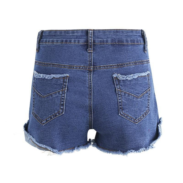 Denim Elastic bow fringe blue high waist shorts