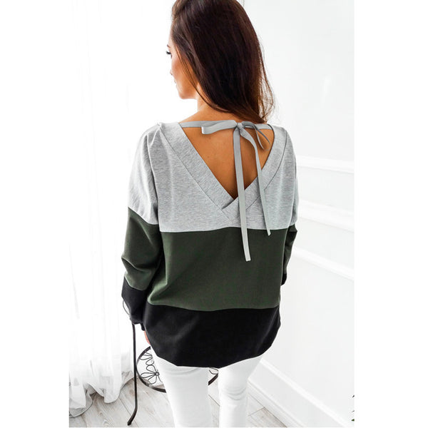 Autumn New Spell Color Stitching Tops Hoodie Sweatshirts