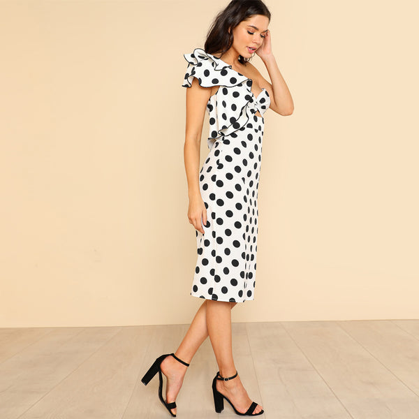 One Shoulder Backless Dotted Dress