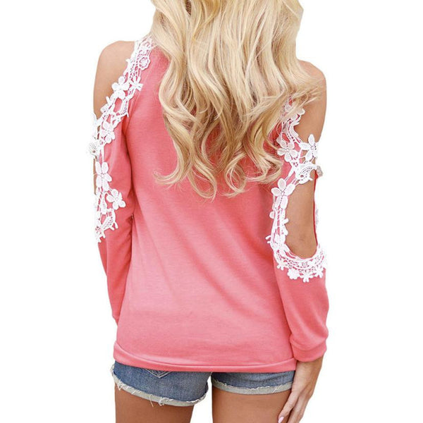 Off Shoulder Blouse/Top Lace Patchwork Long Sleeve
