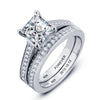 Personalized Engrave Ring Bridal Sets 925 Sterling Silver Square Cubic Zirconia Women Rings For Wedding (JewelOra RI101896)