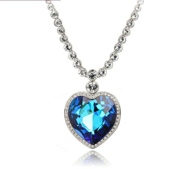 The Heart Of The Sea Sliver Color Pendant Necklace Austrian Crystal