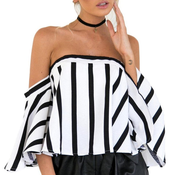 Striped Casual Off Shoulder Short Sleeve Crop Top Shirt/Top/Plus Size