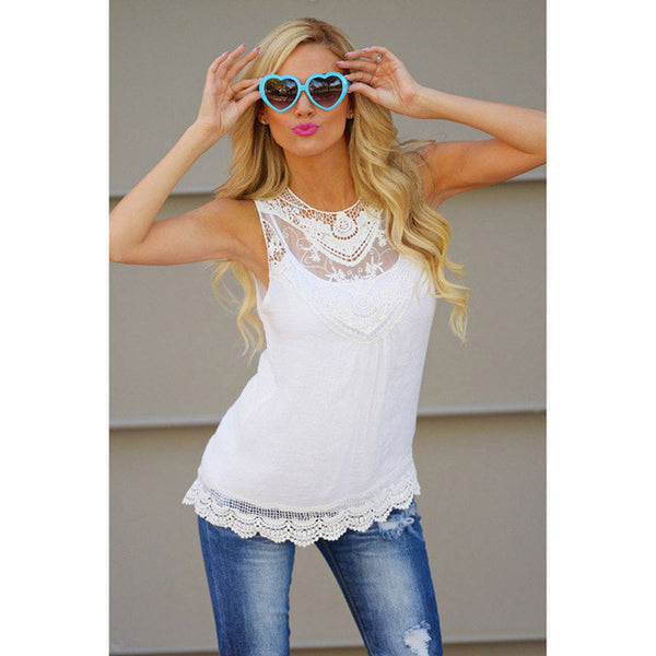 Summer Cotton Lace Blouse Sleeveless Casual Tank Top