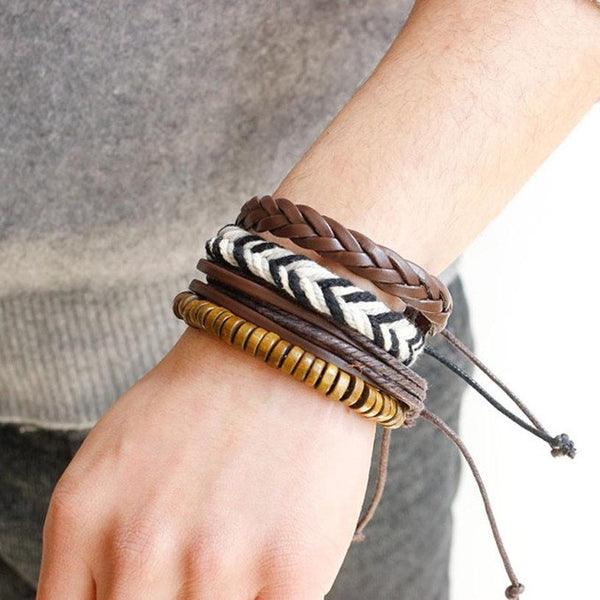 Multi-layer men and women bracelet Handmade Wristband Leather Bracelet Bangle