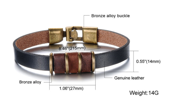 Titanium Stainless Steel Genuine Leather Male Sport Bracelet/Bangle