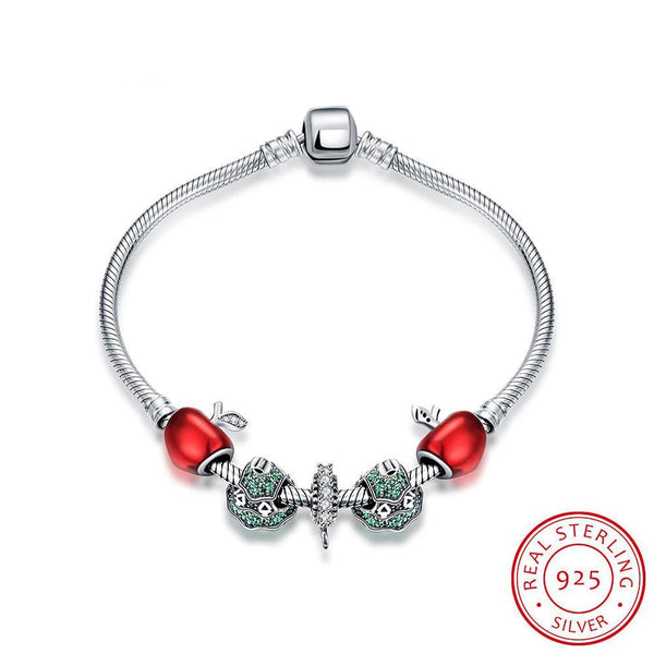 Fashion Bracelet With Red Apple Bead Snowflake Fit Pan Women