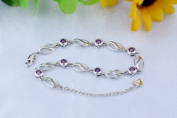 S925 Silver Purple Crystal 100% Real 925 Sterling Silver Bracelet for Women