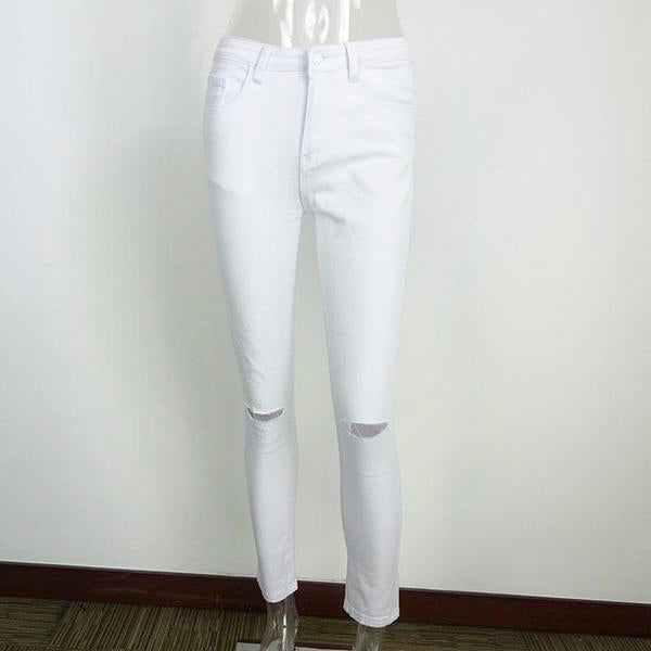 Simplee Summer style white hole ripped jeans cool denim high waist pants