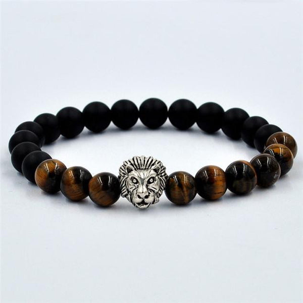 Women Men Bracelet Lion Elastic Beaded Bracelet Tibet Charm Bracelets GD