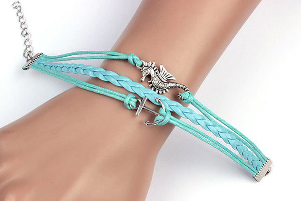Infinity Leather Cute Charm Bracelet Hippocampus