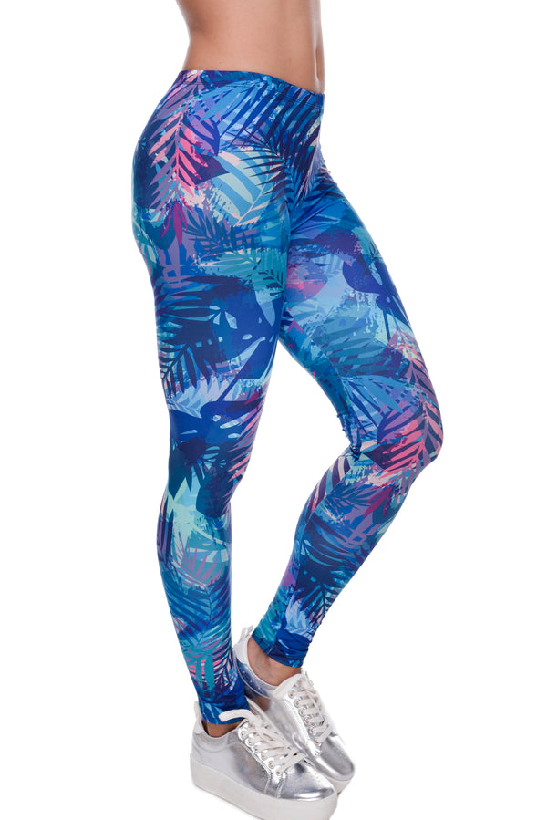 Tropical Leaves Printing Blue Fitness Legging